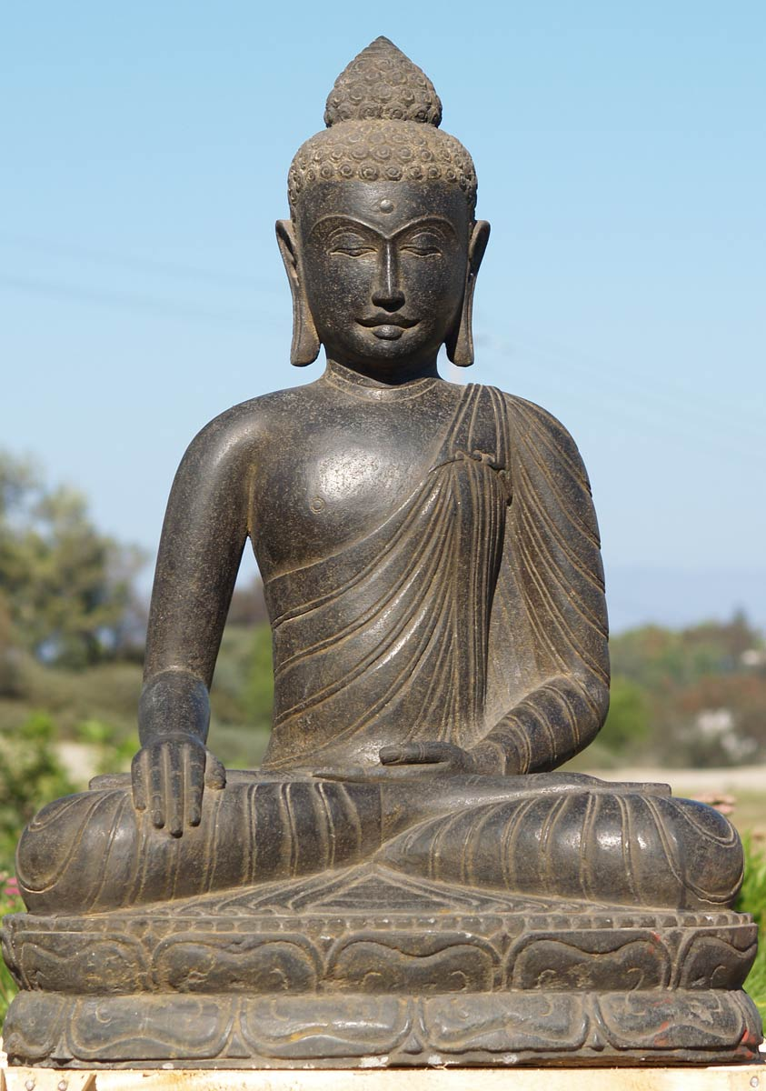 sold stone serene garden buddha statue 36 69ls37. Black Bedroom Furniture Sets. Home Design Ideas