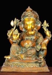 Brass Abhaya Ganesh with Rat 14