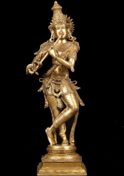 Brass Krishna Statue Playing Flute 34