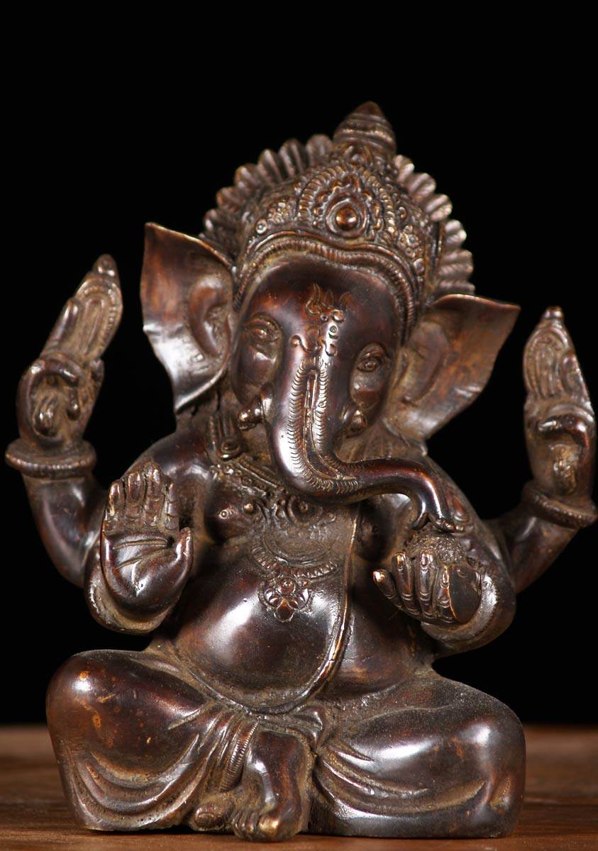 Sold Brass Seated Ganapthi Murti 7 Quot 61bs10c Hindu Gods