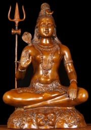 Brass Seated Shiva with Trident 24