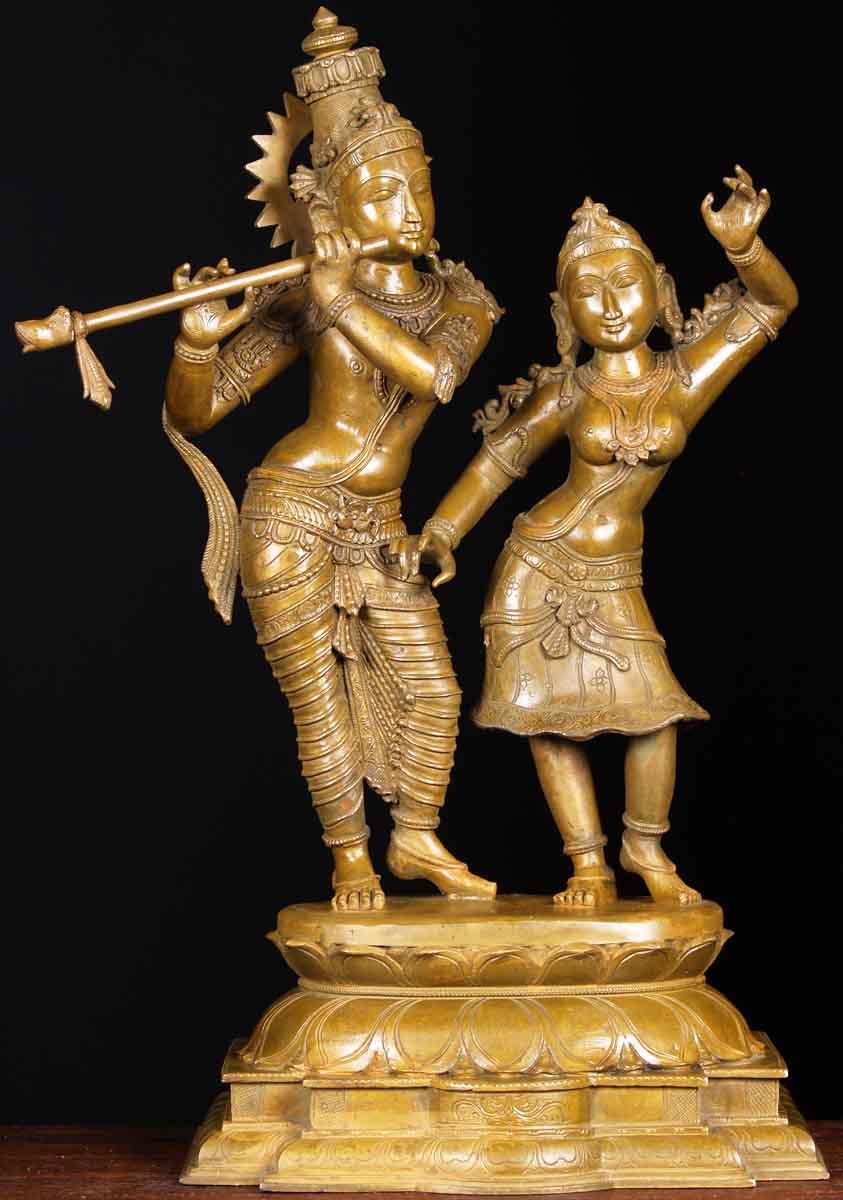 """SOLD Bronze Radha & Krishna Statue 24.5"""" (#64b70): Hindu ..."""
