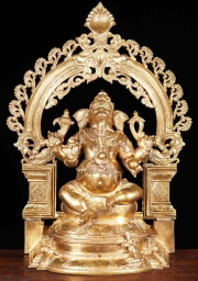 Bronze Ganesh Statue with Rat 20