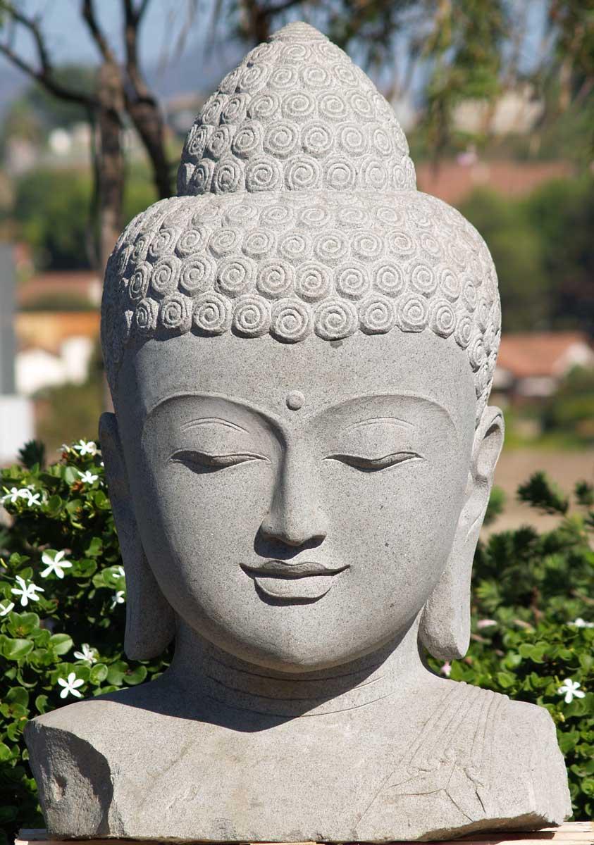 Sold Stone Serene Buddha Bust 38 Quot 67ls83 Hindu Gods