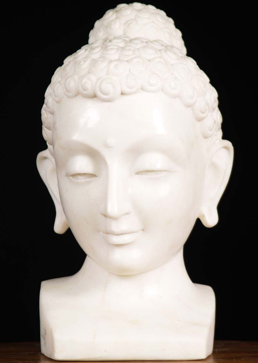 Sold White Marble Buddha Bust 15 5 Quot 80wm25 Hindu Gods