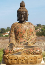 Stone Buddha with Painted Robes 36