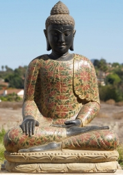 Stone Buddha with Painted Robes 40