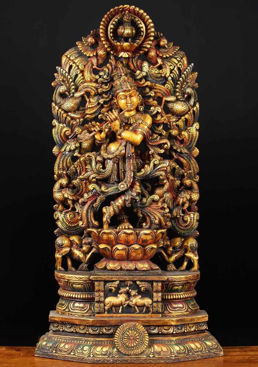 Sold Wood Kodi Peacock Krishna Statue 48 Quot 65w24 Hindu