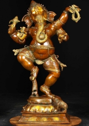 Brass 4 Armed Dancing Ganesh 40
