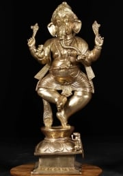 Brass Dancing Ganesh  Rat Statue 43