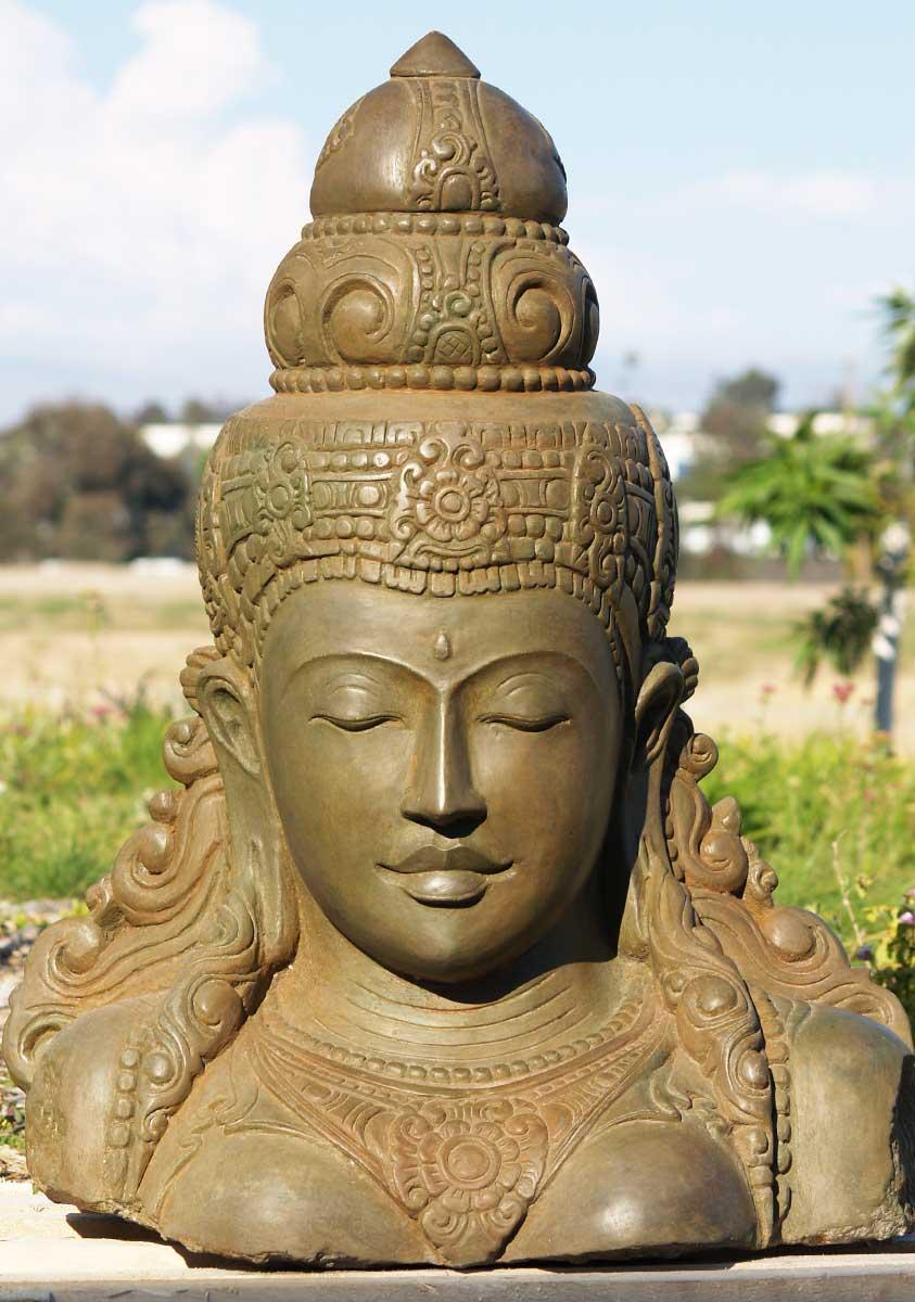 """SOLD Stone Beautiful Devi Tara Bust 32"""" (#69ls54): Hindu ..."""