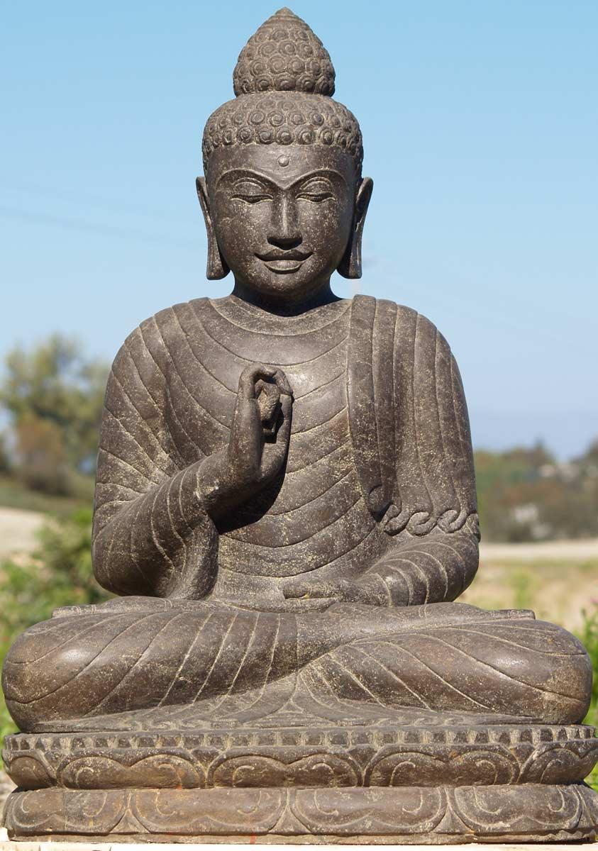 Sold stone teaching garden buddha statue 32 69ls46 for Outdoor buddha