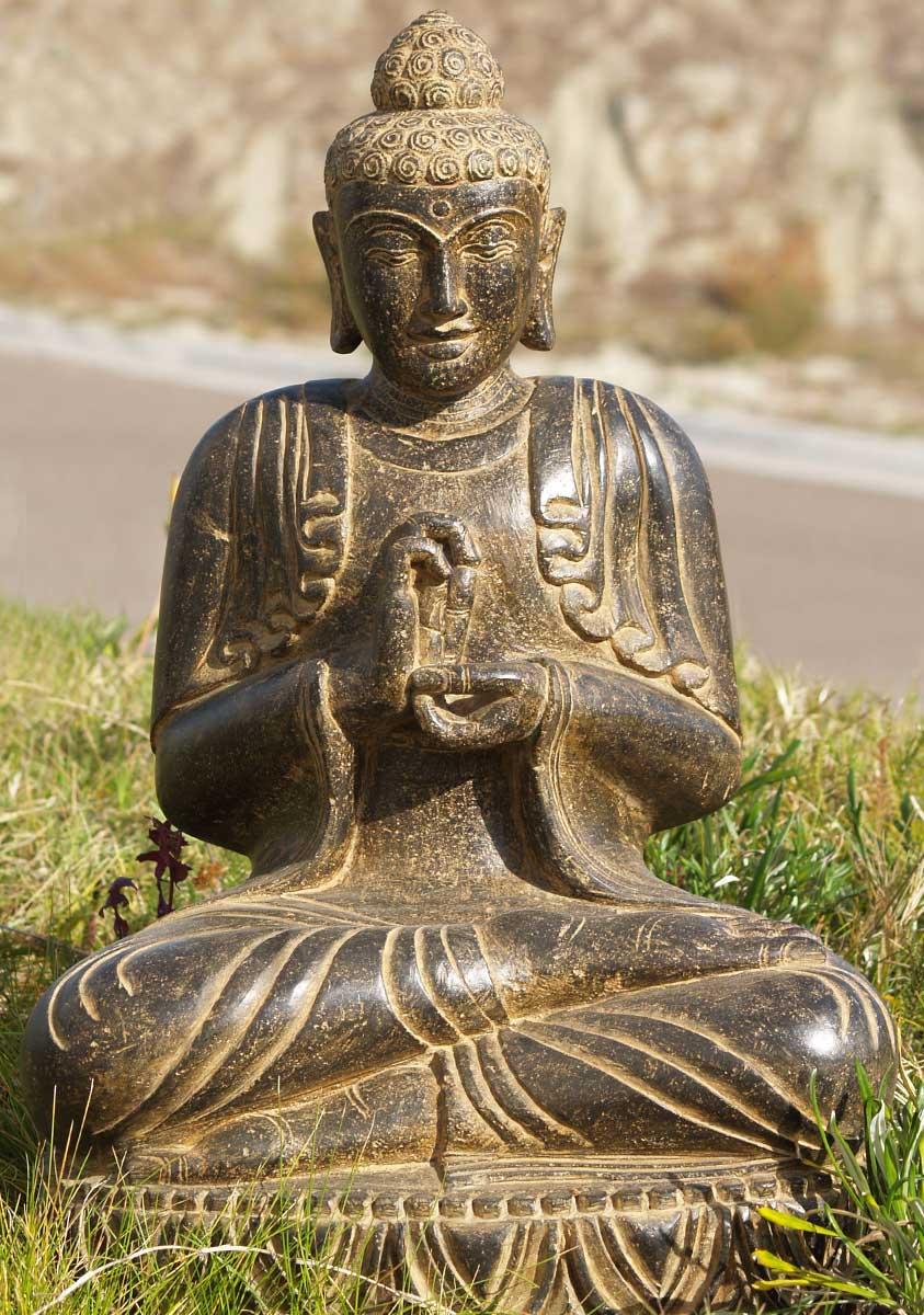 Sold Stone Dharmachakra Garden Buddha 24 U0026quot    77ls71   Hindu