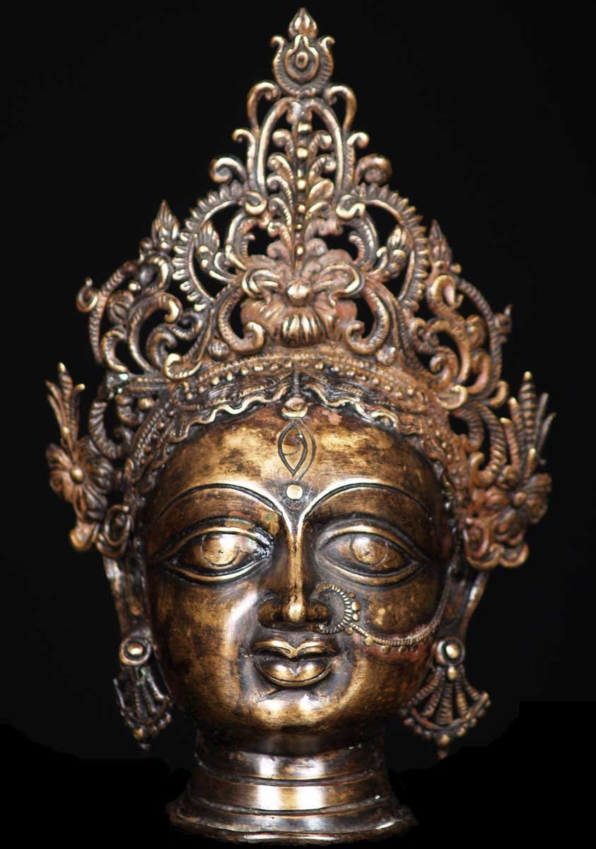 sold bronze durga head with crown 10quot 54b56 hindu gods
