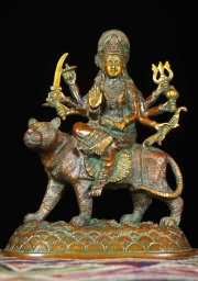 Brass 8 Armed Durga Riding a Lion 10