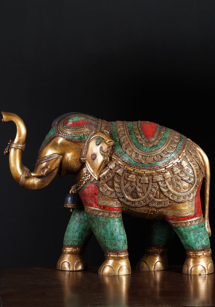 Sold Indian Brass Elephant With Stones 21 Quot 72bs83b