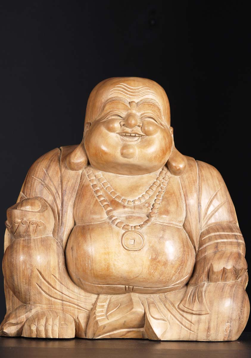 Sold Wooden Fat Amp Happy Hotai Statue 20 Quot 3bw6 Hindu