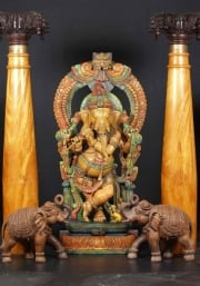 Wooden Ganesh Playing Flute 72
