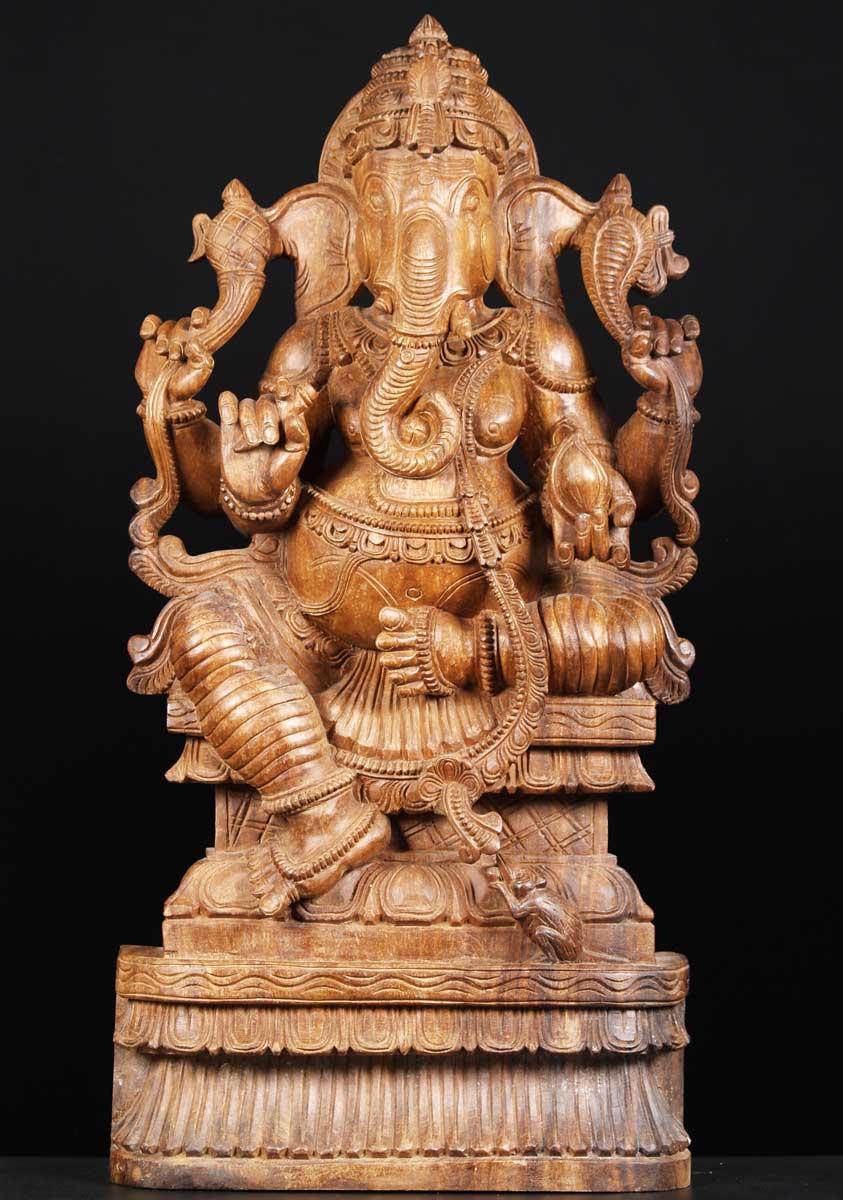 Sold wood statue of the hindu god ganesha quot w hh