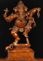 Brass Dancing Ganesh with Laxmi 29