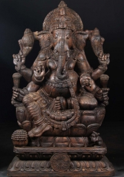Wood Seated Ganesh with 6 Arms 57