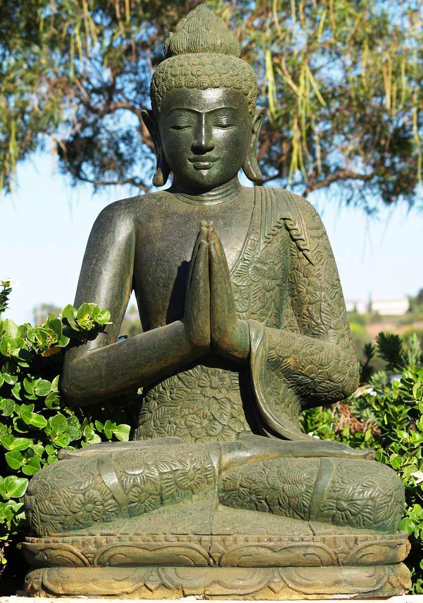 "SOLD Green Stone Praying Buddha Statue 40"" (#69ls100 ..."