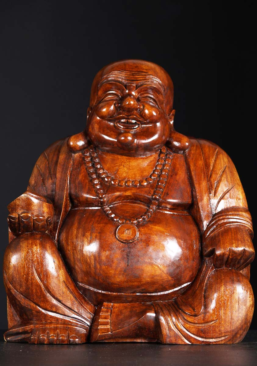 Sold wood buddha of wealth hotai statue quot bw hindu