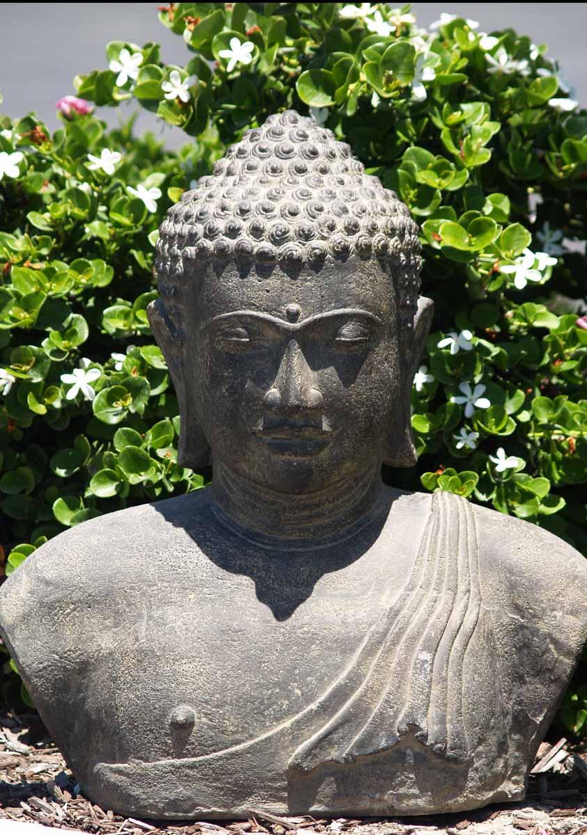 Sold Stone Japanese Buddha Bust 22 Quot 67vc3 Hindu Gods