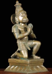 Bronze Kneeling Hanuman Sculpture 12