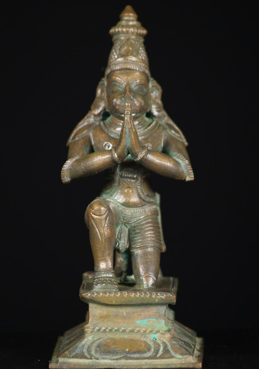 sold bronze kneeling hanuman 6quot 73b36 hindu gods