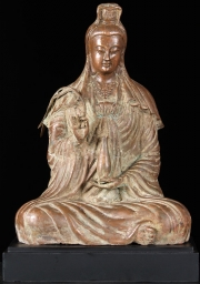 Brass Seated Kwan Yin Statue 18