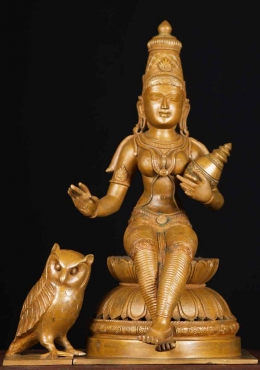 Bronze Lakshmi Statue with Owl Holding a Pot 15