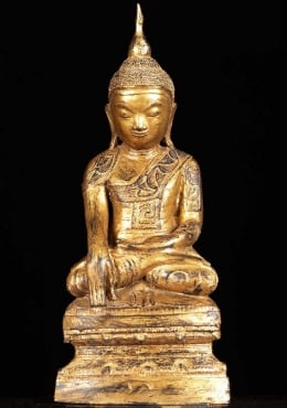 Gold Leaf Thai Brass Lanna Buddha Statue 24