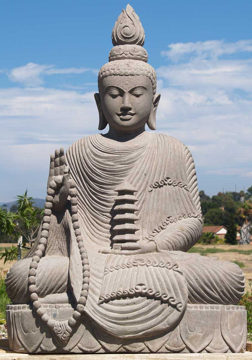 sold large garden buddha with pagoda 68 69ls67 hindu. Black Bedroom Furniture Sets. Home Design Ideas