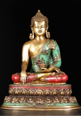 Brass Earth Touching Buddha Statue with Stones 20.5