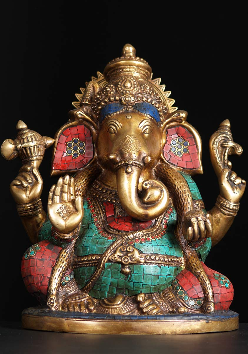 sold large ganesh statue with stones 13quot 72bs82 hindu