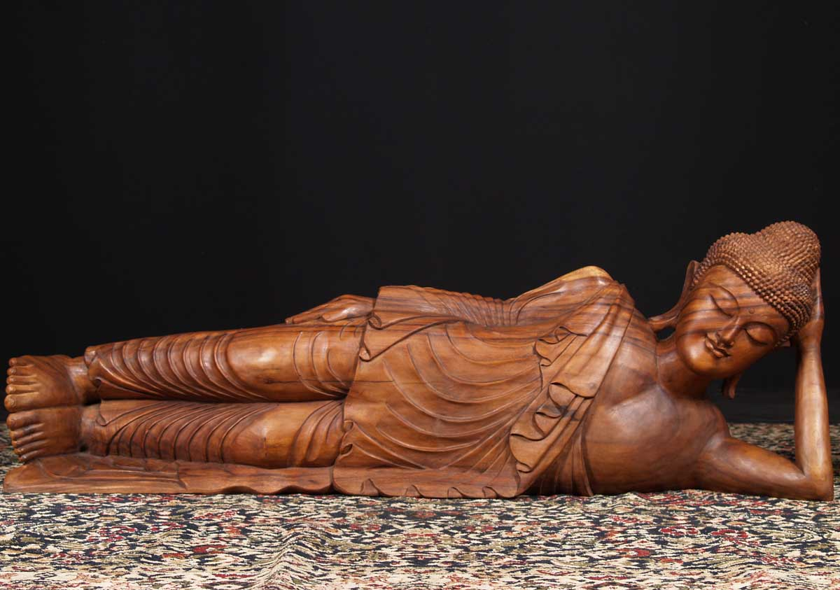 SOLD Large Wooden Reclining Buddha 60   sc 1 st  Lotus Sculpture & SOLD Large Wooden Reclining Buddha 60