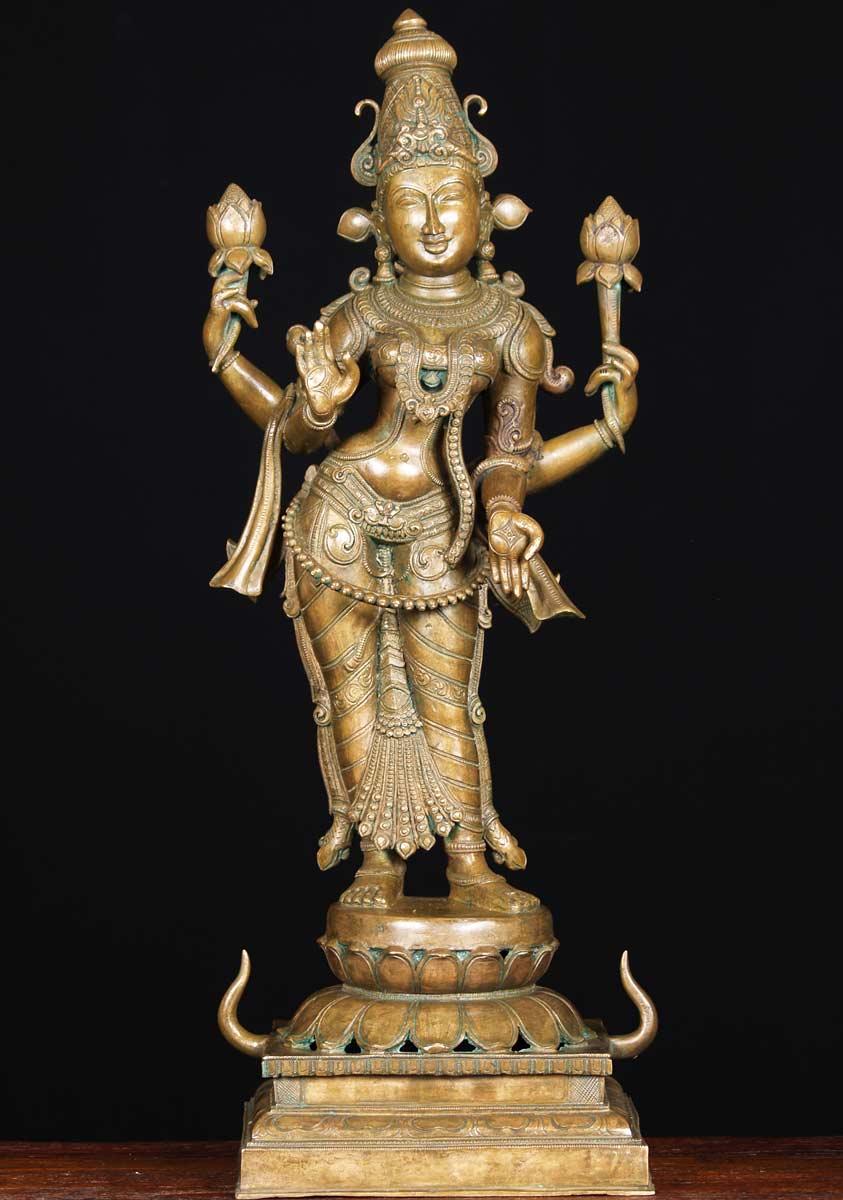Sold Bronze Laxmi With 2 Lotus Flowers 27 Quot 64b9 Hindu