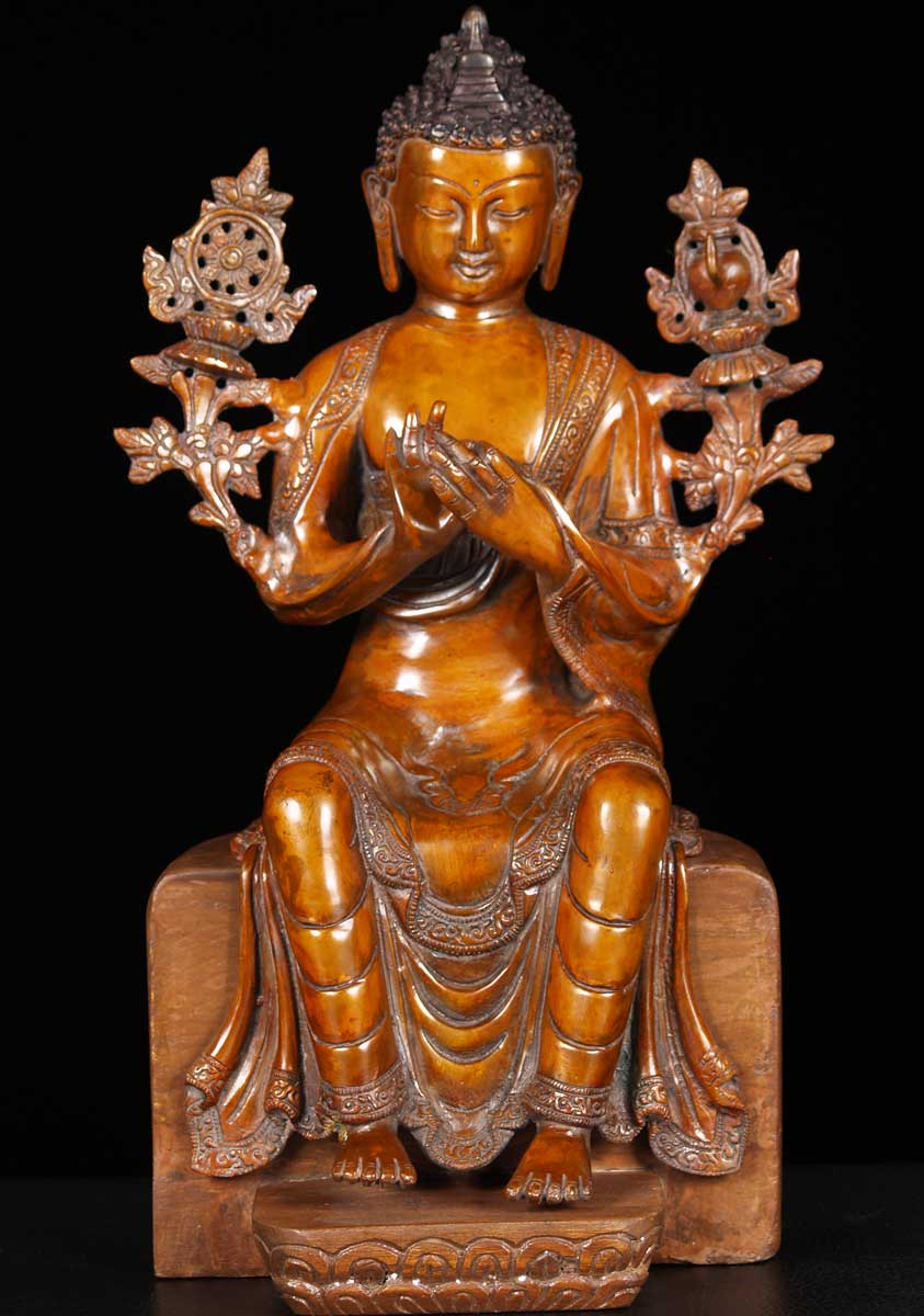 "SOLD Brass Maitreya Buddha Statue 16"" (#62bs81a): Hindu ..."