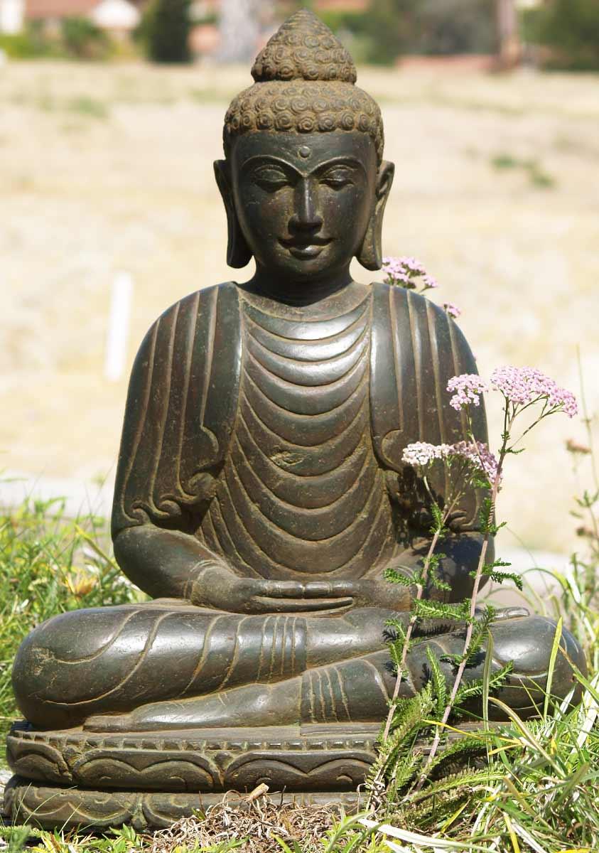 Sold Stone Meditating Buddha Statue 28 Quot 69ls47 Hindu