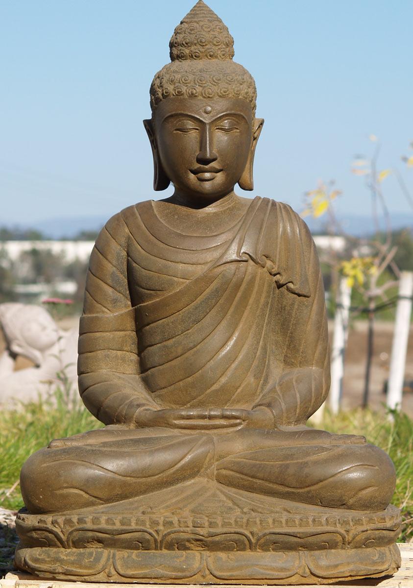 Sold Stone Meditating Buddha Statue 33 Quot 77ls12 Hindu