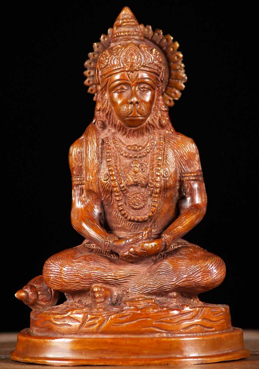 SOLD Brass Meditating Hanuman Statue 7 61bs96d Hindu