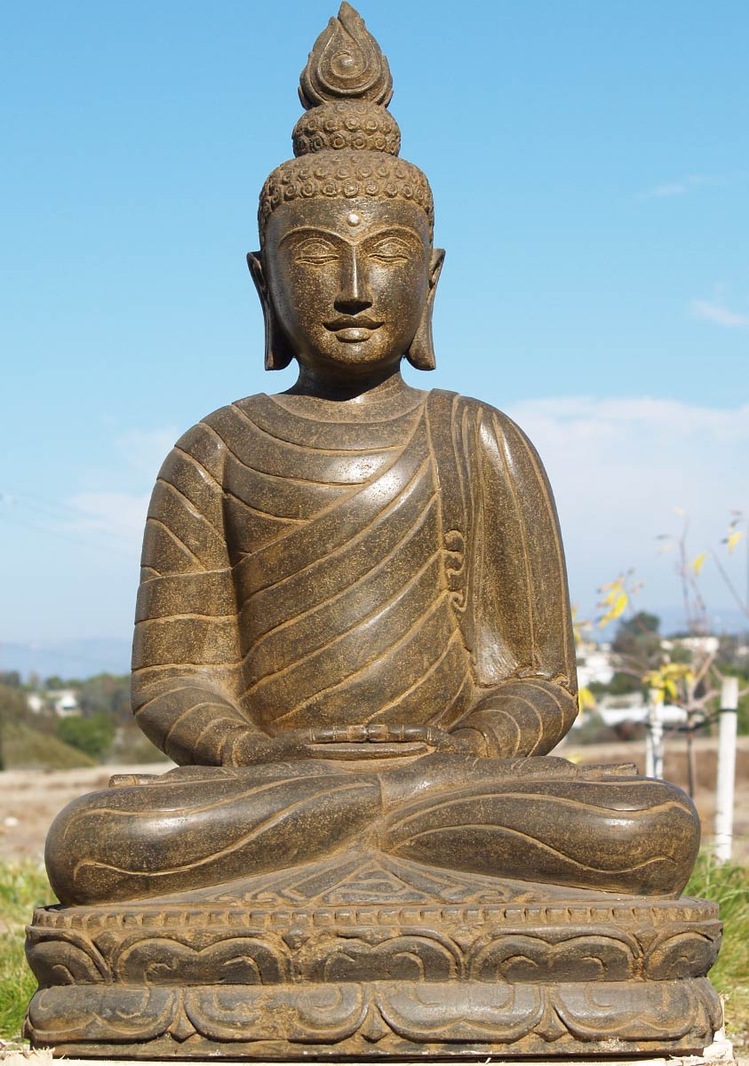 stone meditating garden buddha statue 39 77ls4 hindu. Black Bedroom Furniture Sets. Home Design Ideas