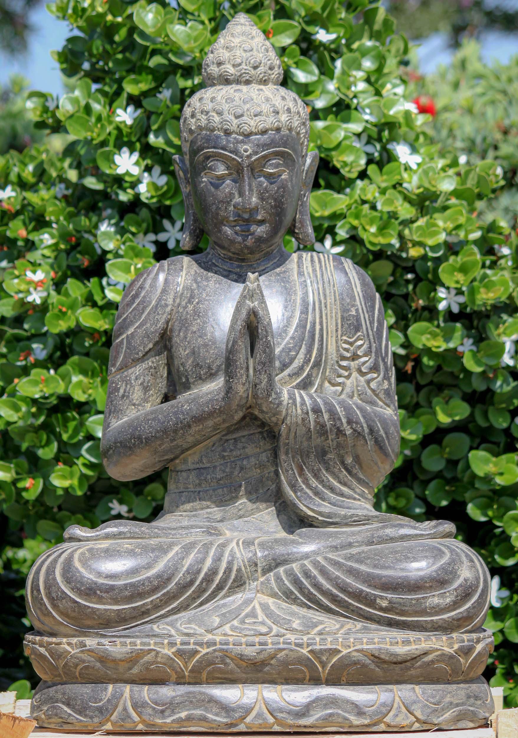 Sold Stone Namaste Buddha Garden Sculpture 32 124ls719 Hindu Gods Buddha Statues
