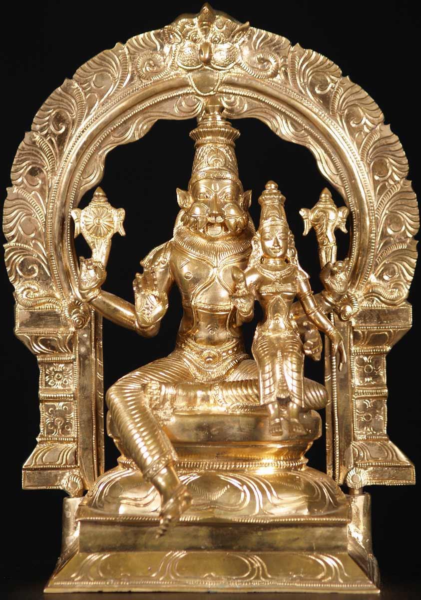Sold Narasimha Lakshmi Bronze Statue 12 Quot 74b100 Hindu
