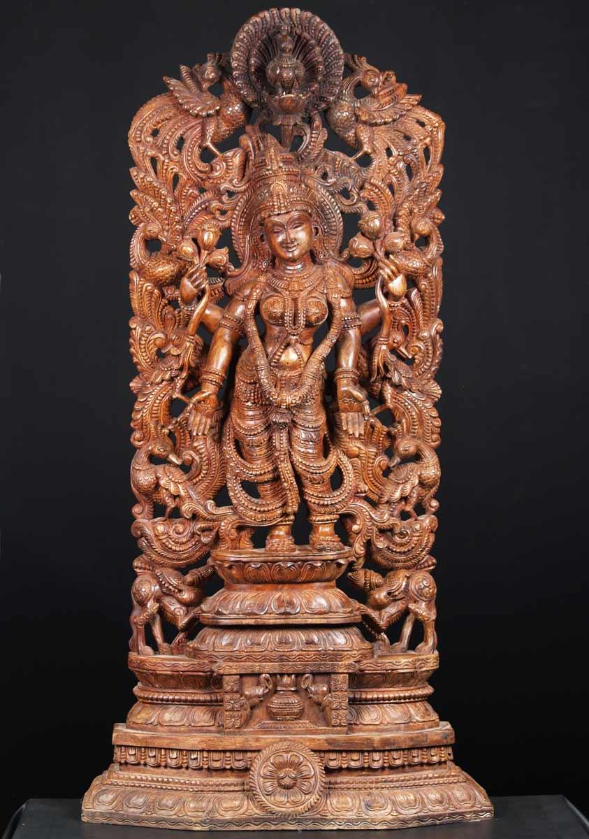 Sold wooden stunning goddess lakshmi statue quot w aa