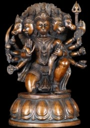 Brass Kneeling 5 Faced Hanuman 13