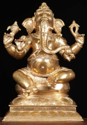Bronze Golden Seated Ganapati Statue 15