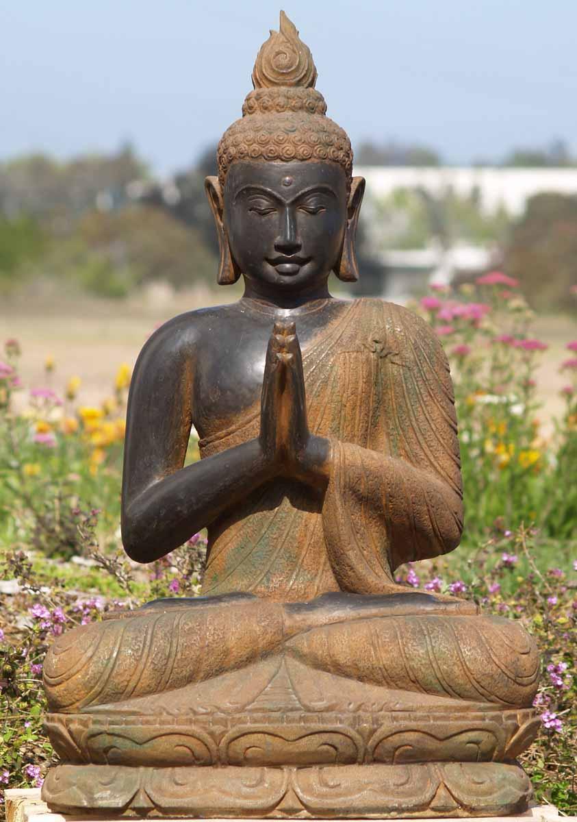 "Buddha Statues For The Garden: SOLD Praying Buddha Garden Statue 35"" (#67ls15): Hindu"