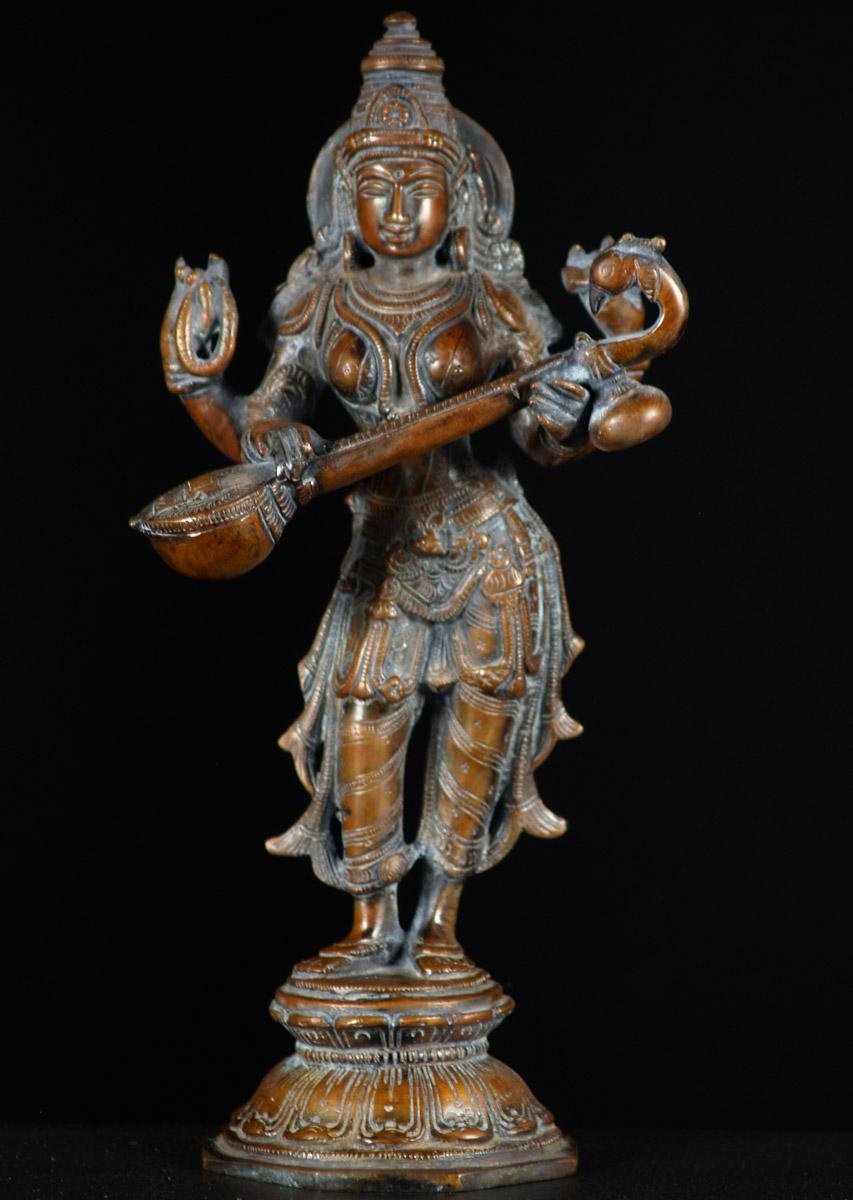 Sold Brass Saraswati Veena Statue 11 Quot 61bs43c Hindu